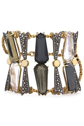 ALEXIS BITTAR Gold-tone, crystal and stone cuff