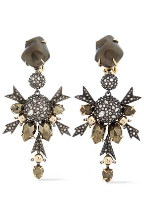 ALEXIS BITTAR Gunmetal and gold-tone crystal earrings