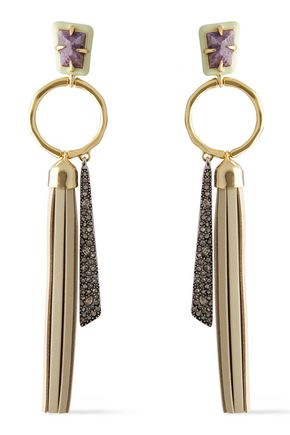 ALEXIS BITTAR Gold-tone, crystal and leather earrings
