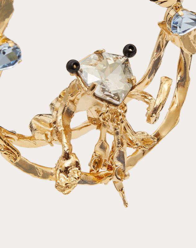 Metal and crystal single frog earring