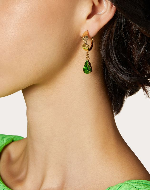 Metal and crystal leaf earrings