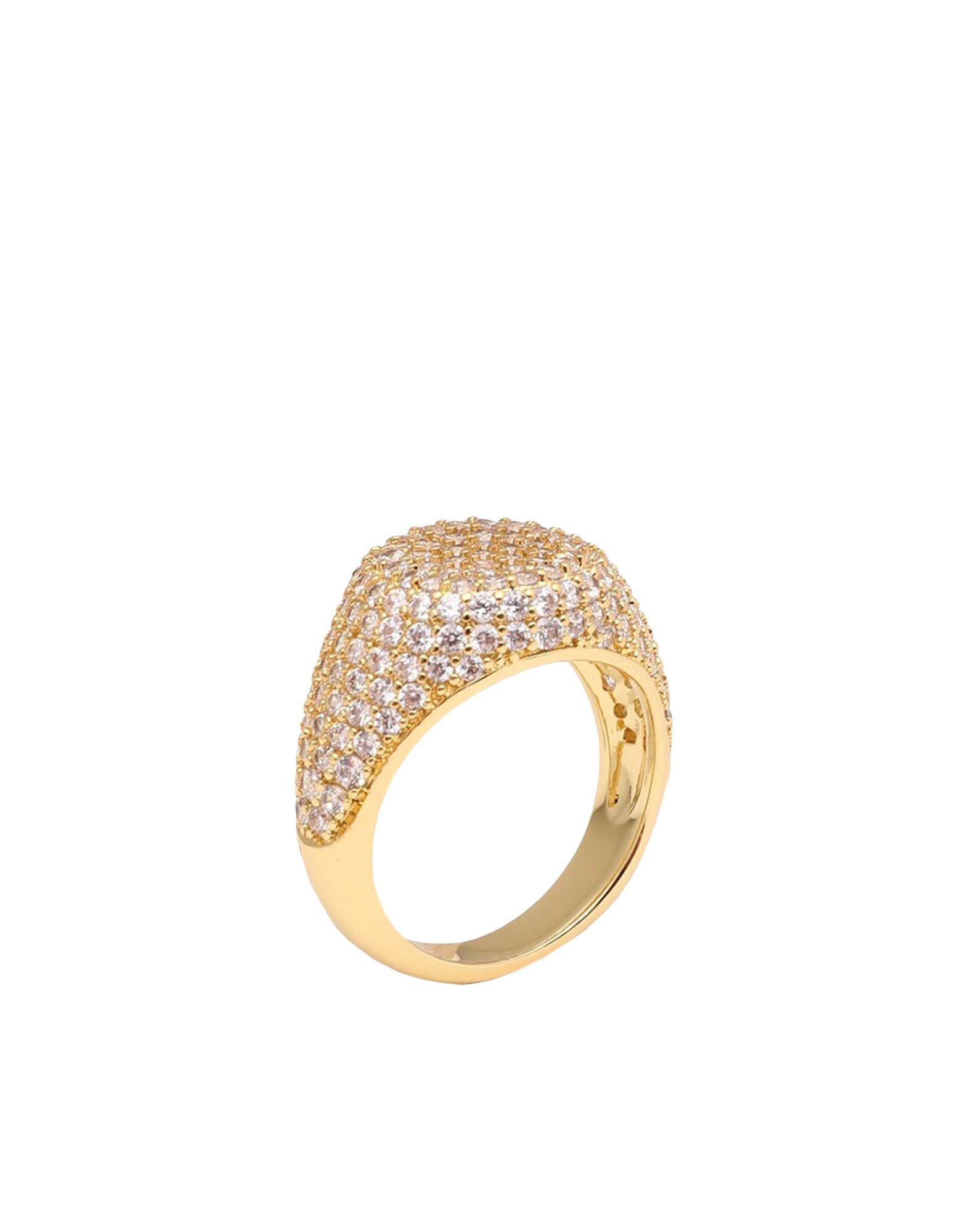 《セール開催中》LUV AJ レディース 指輪 ゴールド 5 真鍮/ブラス / クリスタル PAVE SIGNET RING