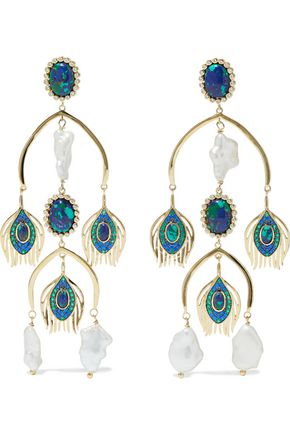 NOIR JEWELRY 14-karat gold-plated, faux pearl, crystal and stone earrings
