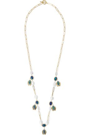 NOIR JEWELRY 14-karat gold-plated, faux pearl, crystal and stone necklace