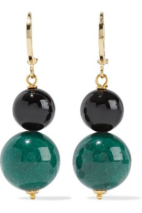IRIS & INK Hydrangeas gold-plated, onyx and jade earrings