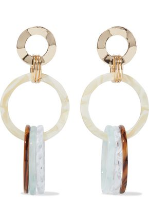 IRIS & INK Hammered gold-plated marbled Lucite earrings