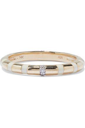 ADINA REYTER 14-karat gold, enamel and diamond ring