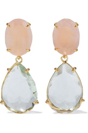 BOUNKIT Convertible 14-karat gold-plated green amethyst and rose quartz earrings