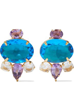 BOUNKIT 14-karat gold-plated, amethyst and quartz earrings