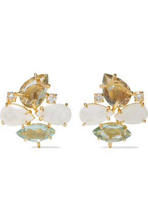 BOUNKIT 14-karat gold-plated, amethyst and moonstone earrings