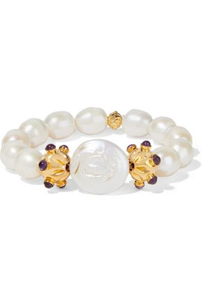 BOUNKIT 14-karat gold-plated, pearl and amethyst bracelet
