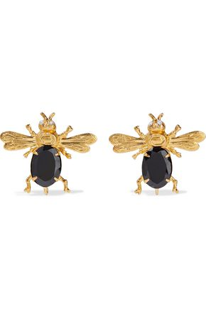 BOUNKIT 14-karat gold-plated onyx and quartz earrings
