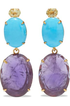 BOUNKIT 14-karat gold-plated, quartz, turquoise and amethyst earrings