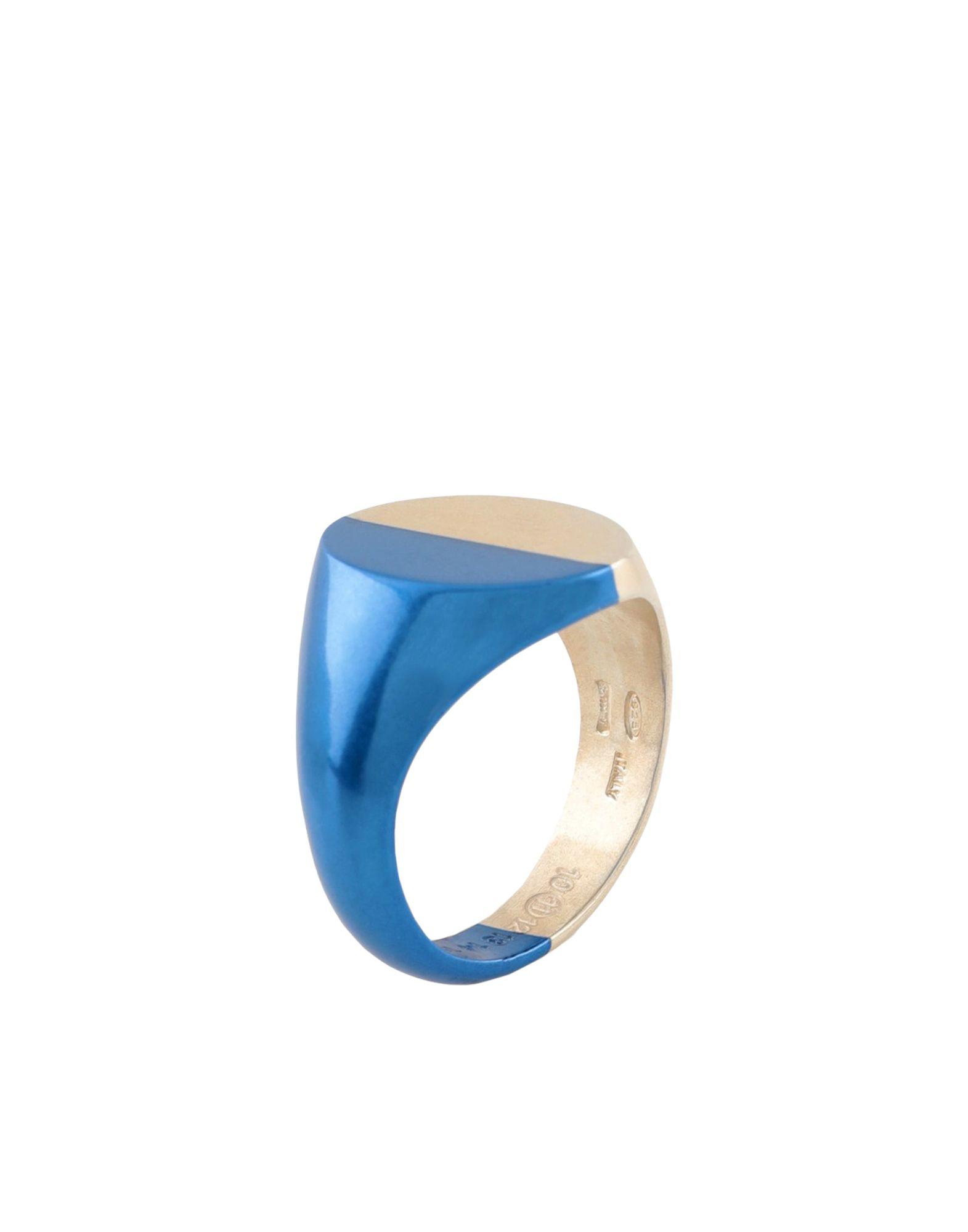 《セール開催中》MAISON MARGIELA メンズ 指輪 ブルー M シルバー925/1000 100%