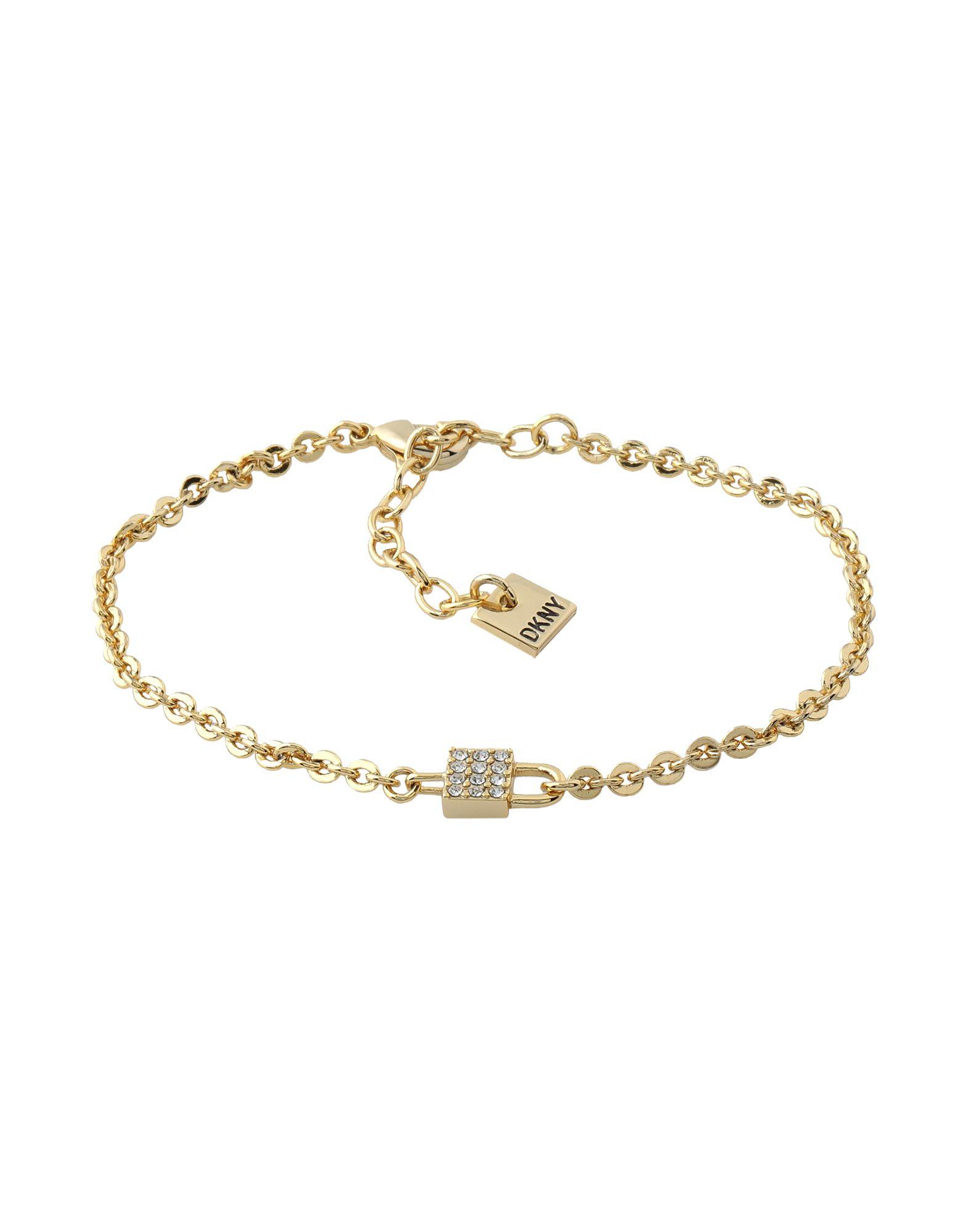 《セール開催中》DKNY レディース ブレスレット ゴールド 真鍮/ブラス / スワロフスキー SMALL PAVE LOCK