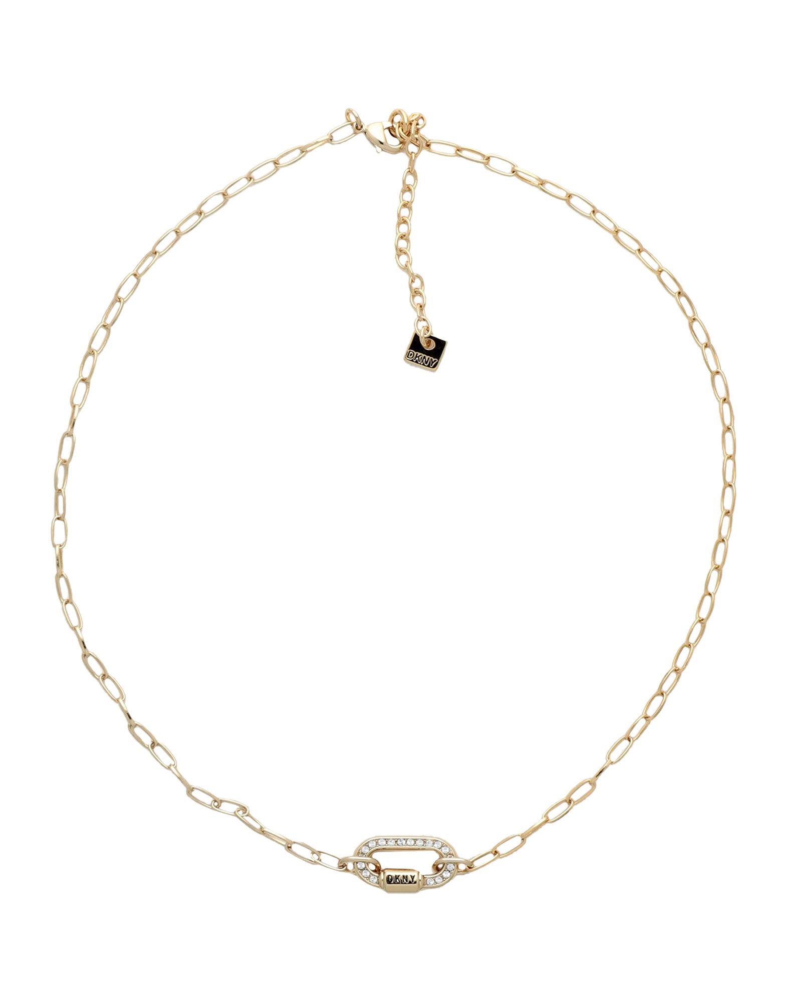《セール開催中》DKNY レディース ネックレス ゴールド 真鍮/ブラス / スワロフスキー CRYSTAL CARABINER