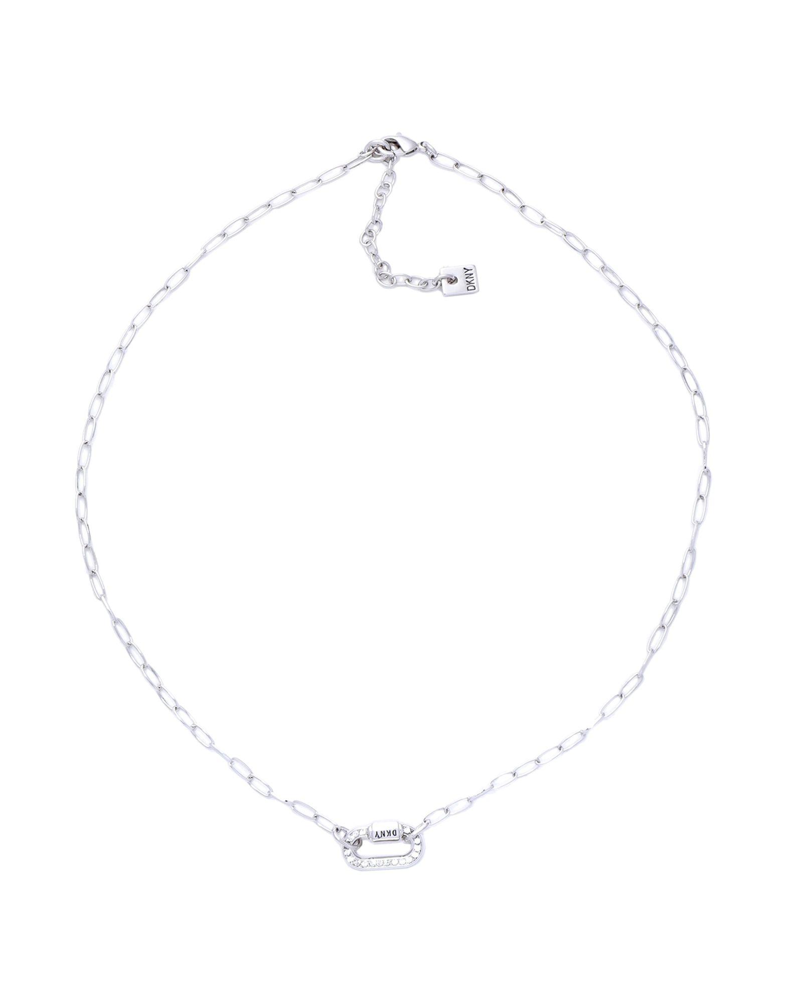《セール開催中》DKNY レディース ネックレス シルバー 真鍮/ブラス / スワロフスキー CRYSTAL CARABINER