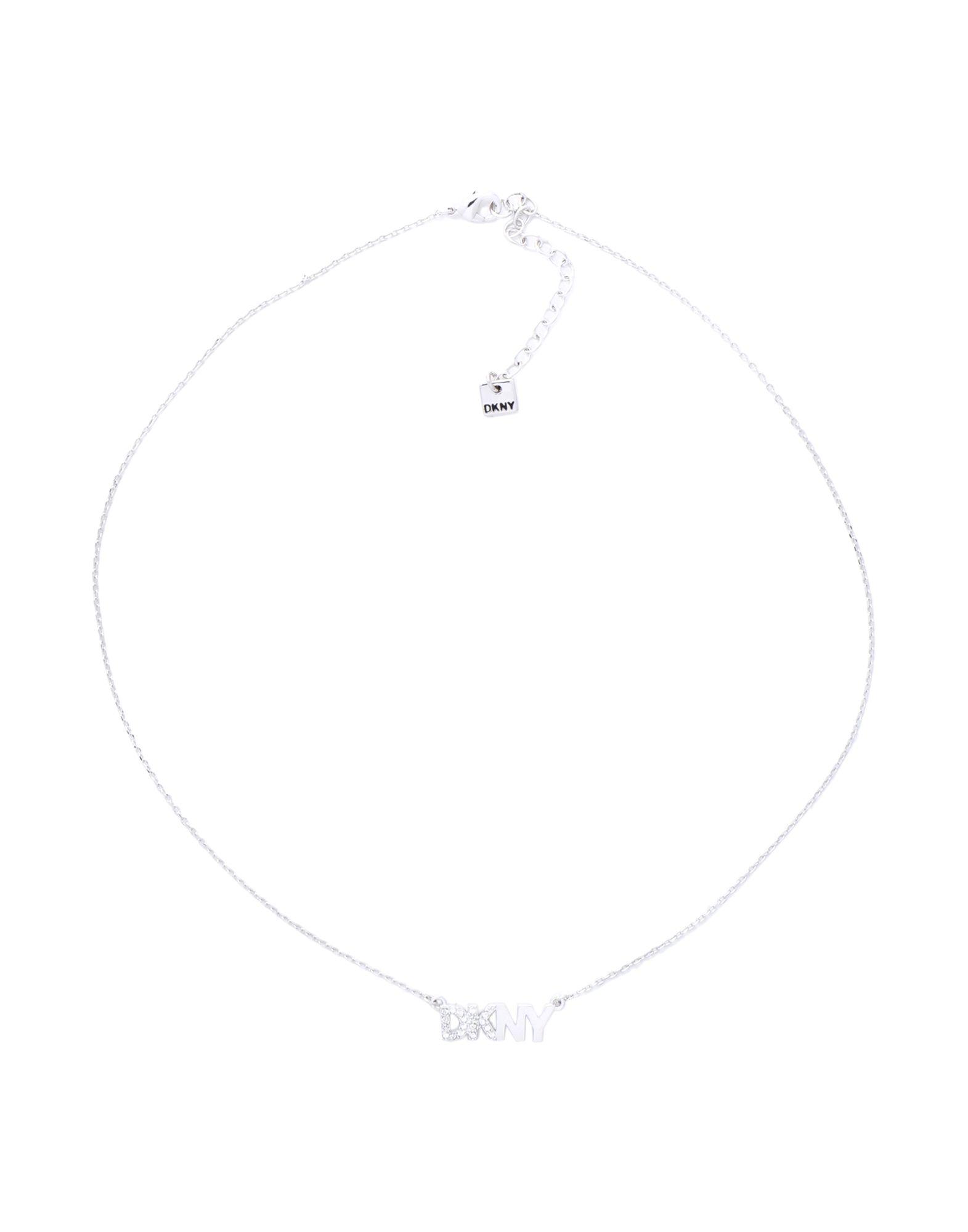 《セール開催中》DKNY レディース ネックレス シルバー 真鍮/ブラス / スワロフスキー PAVE LOGO PENDANT