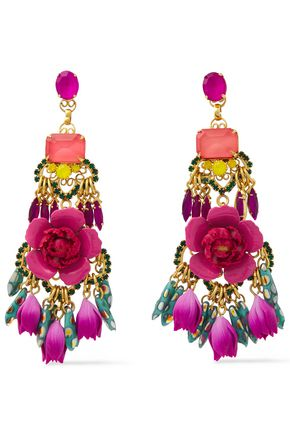 ELIZABETH COLE 24-karat gold-plated, crystal and resin earrings