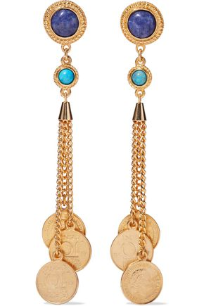BEN-AMUN 24-karat gold-plated, turquoise and stone earrings