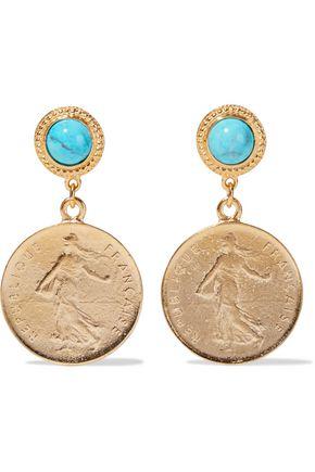 BEN-AMUN 24-karat gold-plated stone earrings