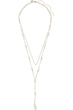 CZ by KENNETH JAY LANE Gold-tone, faux pearl and crystal necklace