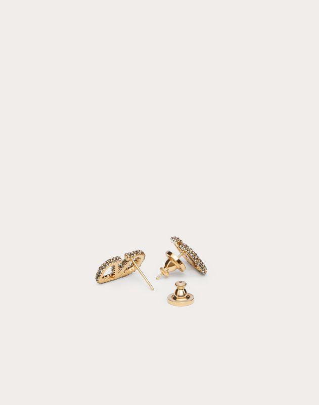 VLOGO Metal and Crystal Earrings