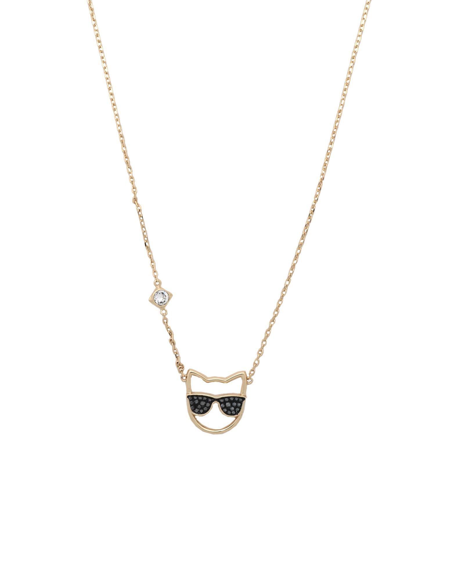 《セール開催中》KARL LAGERFELD レディース ネックレス ゴールド 真鍮/ブラス / スワロフスキー SUNGLASSES CHOUPETTE