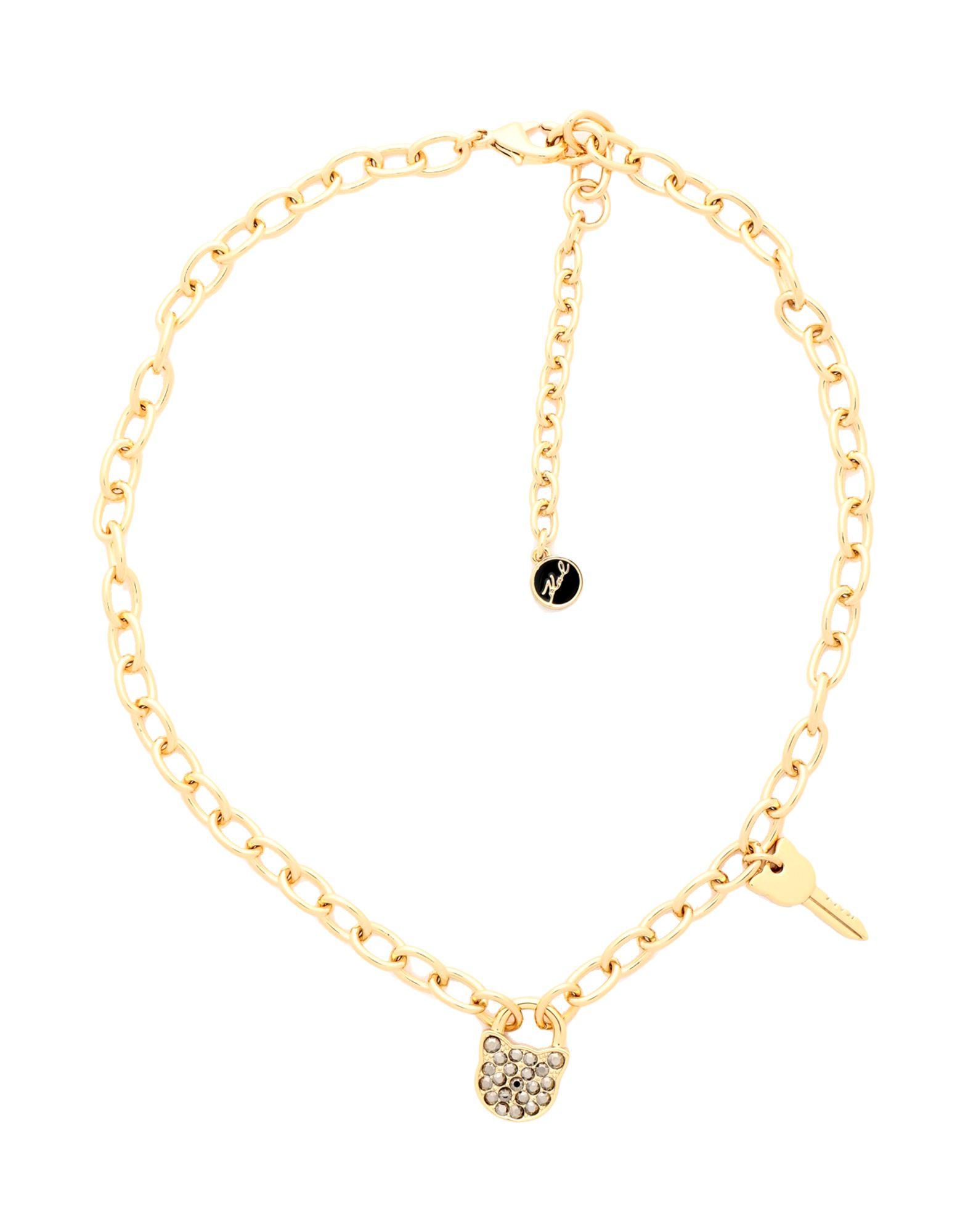 《セール開催中》KARL LAGERFELD レディース ネックレス ゴールド 真鍮/ブラス / スワロフスキー SMALL CHOUPETTE LOCK & KEY