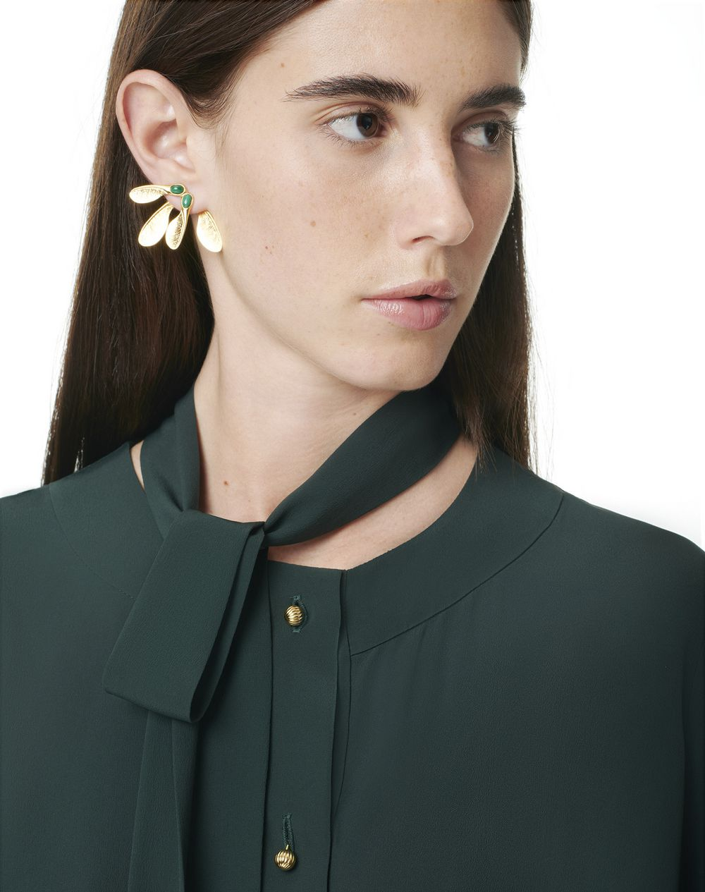 AUTUMN DAY EARRINGS WITH MALACHITE - Lanvin
