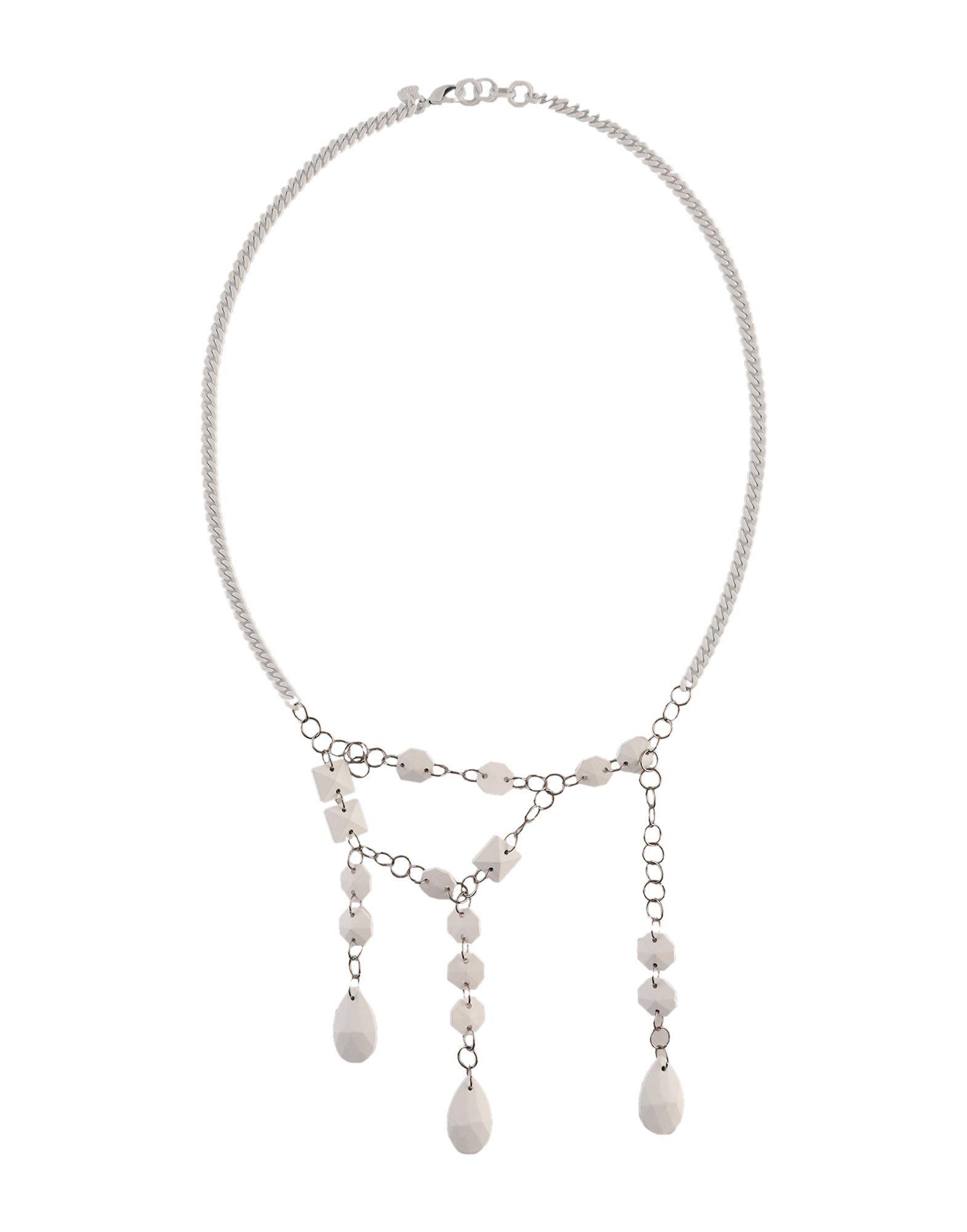 《セール開催中》MM6 MAISON MARGIELA レディース ネックレス ホワイト 真鍮/ブラス 100% / ガラス