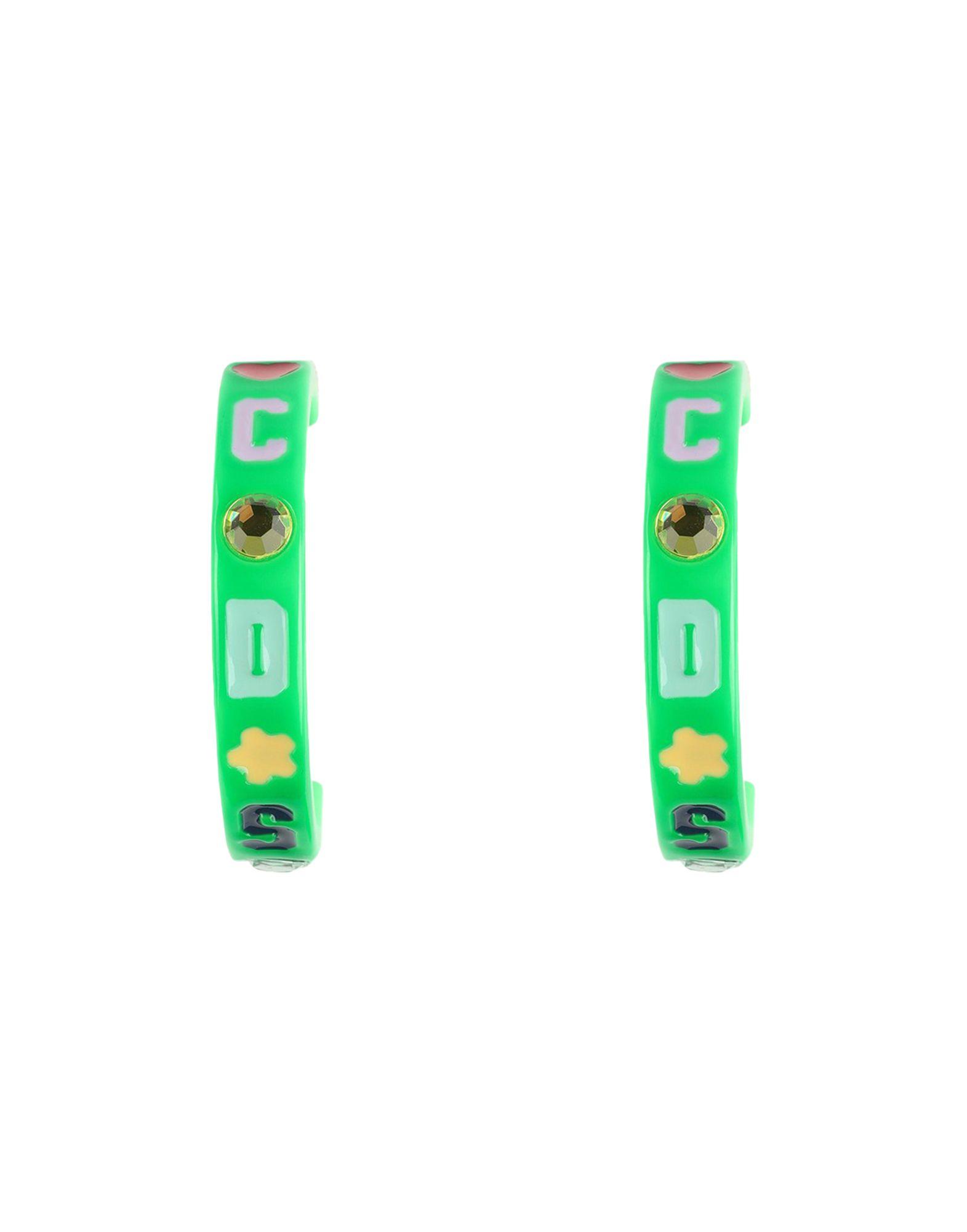 GCDS Earrings. rhinestones, logo, stud closure. Plastic