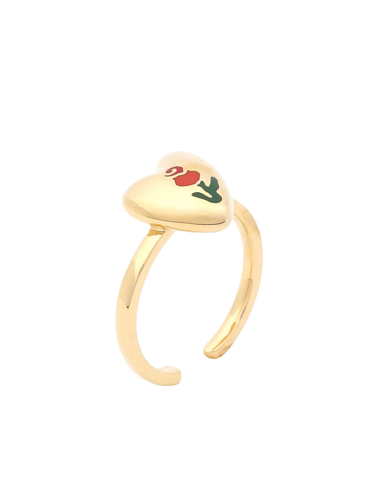 《セール開催中》OOAK レディース 指輪 ゴールド one size 真鍮/ブラス / 18金メッキ / エナメル ROSE HEART RING