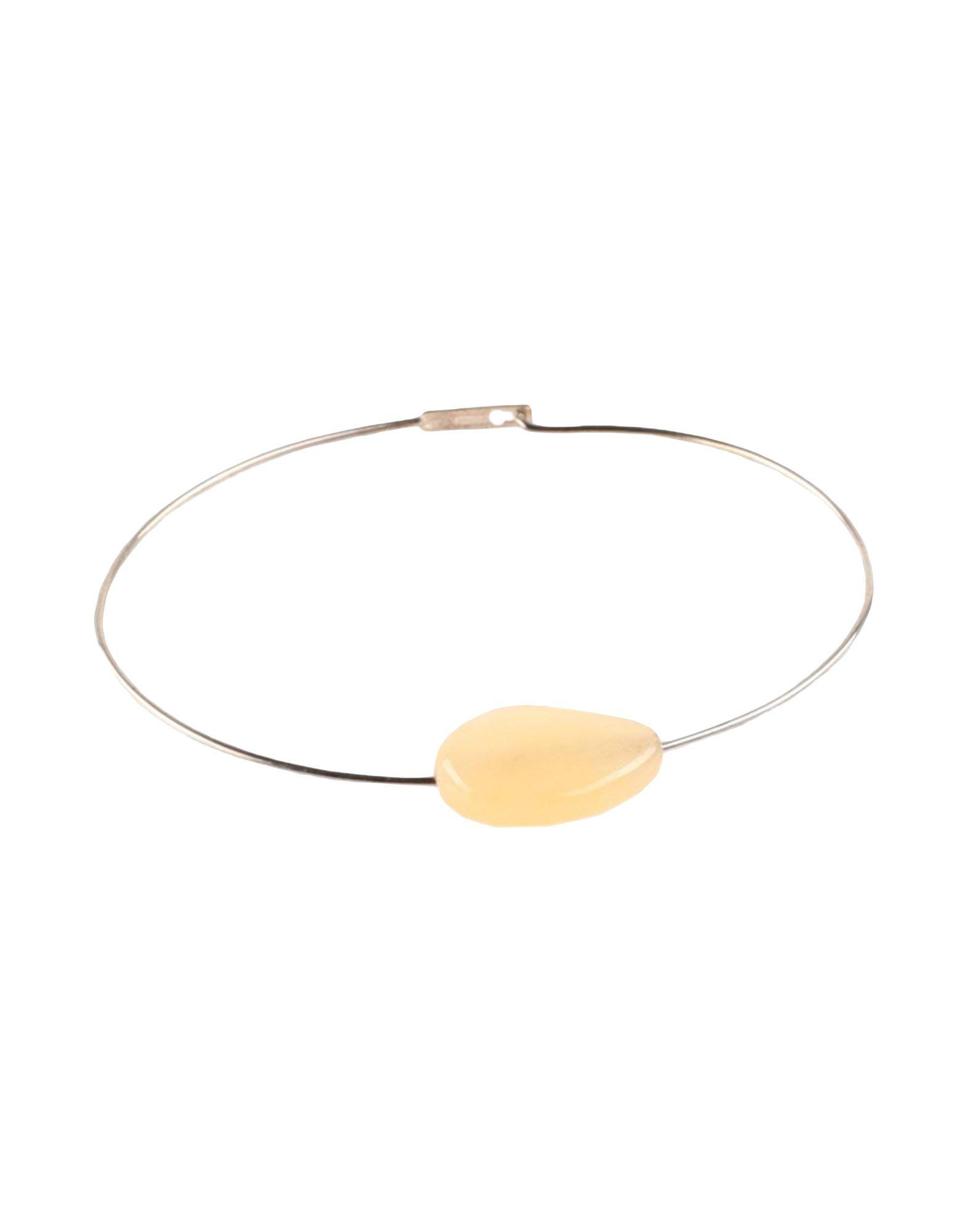 JIL SANDER Bracelets. contrasting applications, hook fastening. Metal, Stone