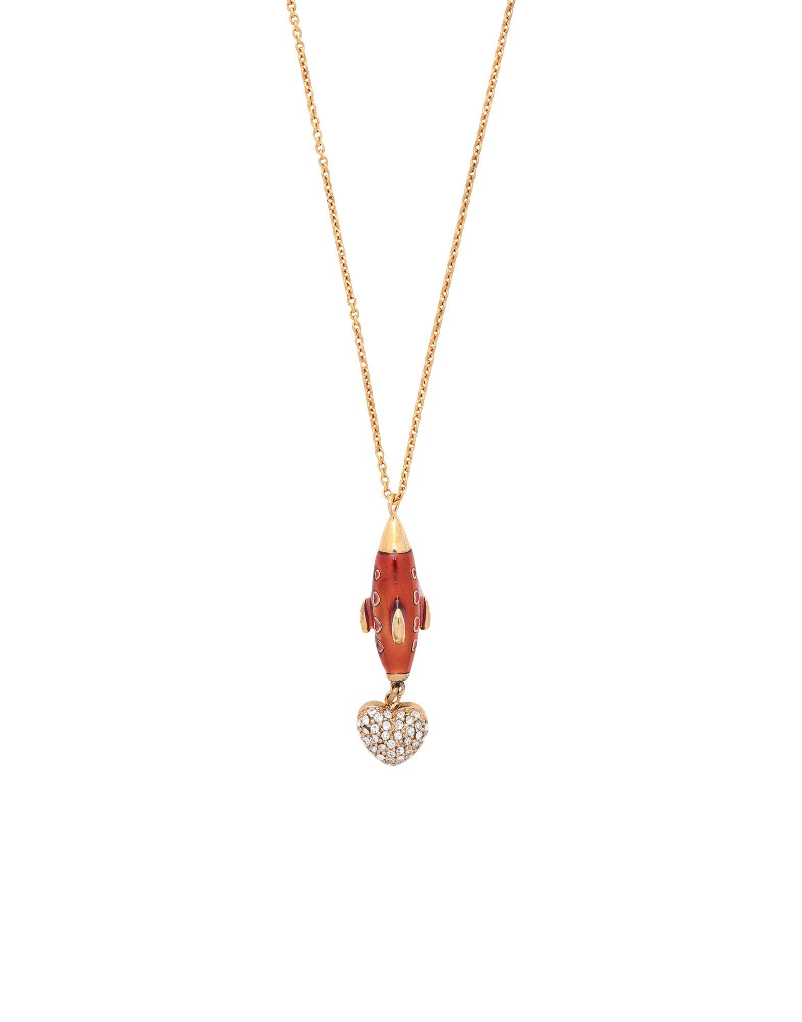《セール開催中》DOLCE & GABBANA レディース ネックレス ゴールド 真鍮/ブラス 80% / クリスタル 15% / エナメル 5%