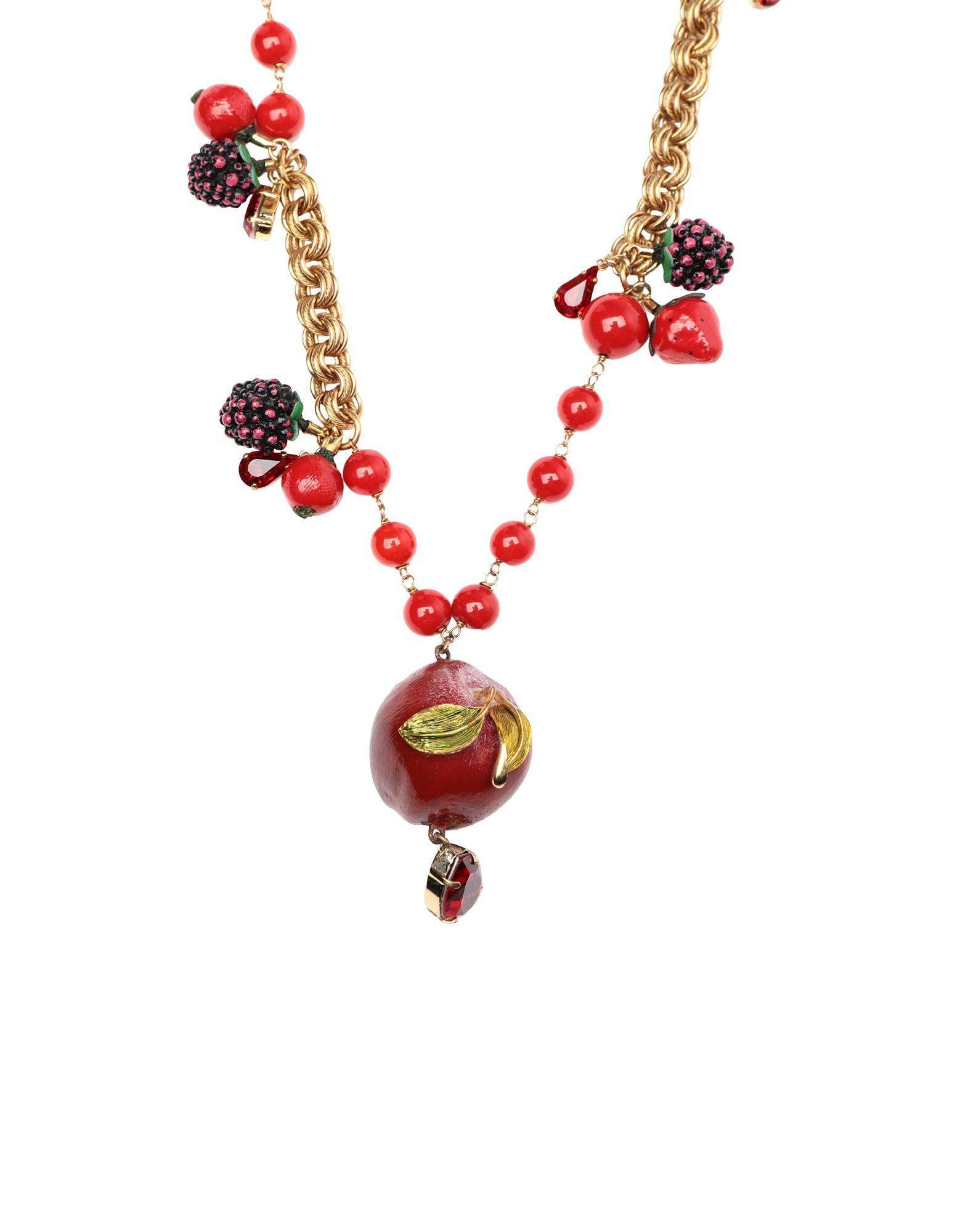 《セール開催中》DOLCE & GABBANA レディース ネックレス ゴールド 真鍮/ブラス 40% / ガラス 30% / コットン 20% / クリスタル 10%