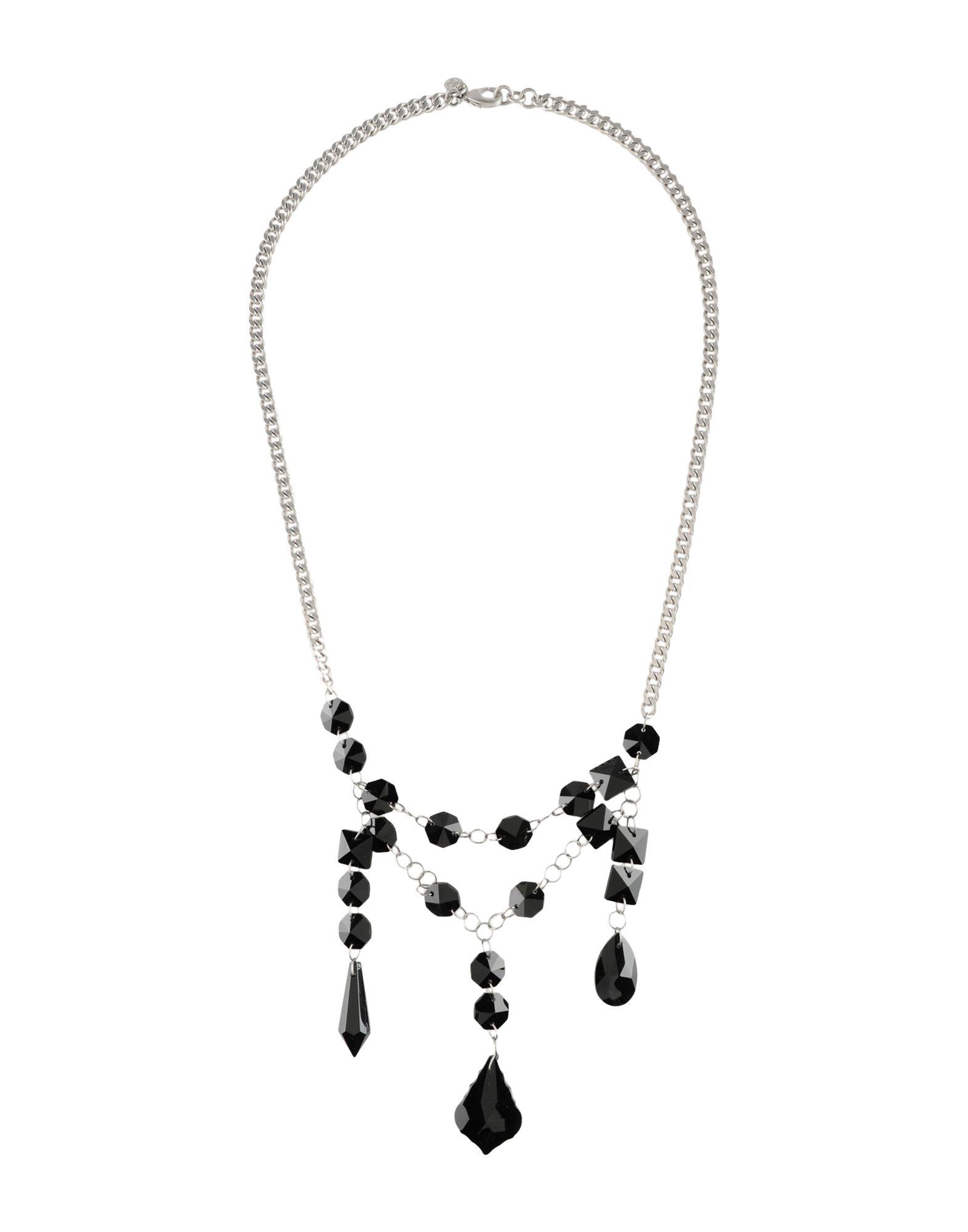《セール開催中》MM6 MAISON MARGIELA レディース ネックレス ブラック 天然樹脂 100% / 真鍮/ブラス