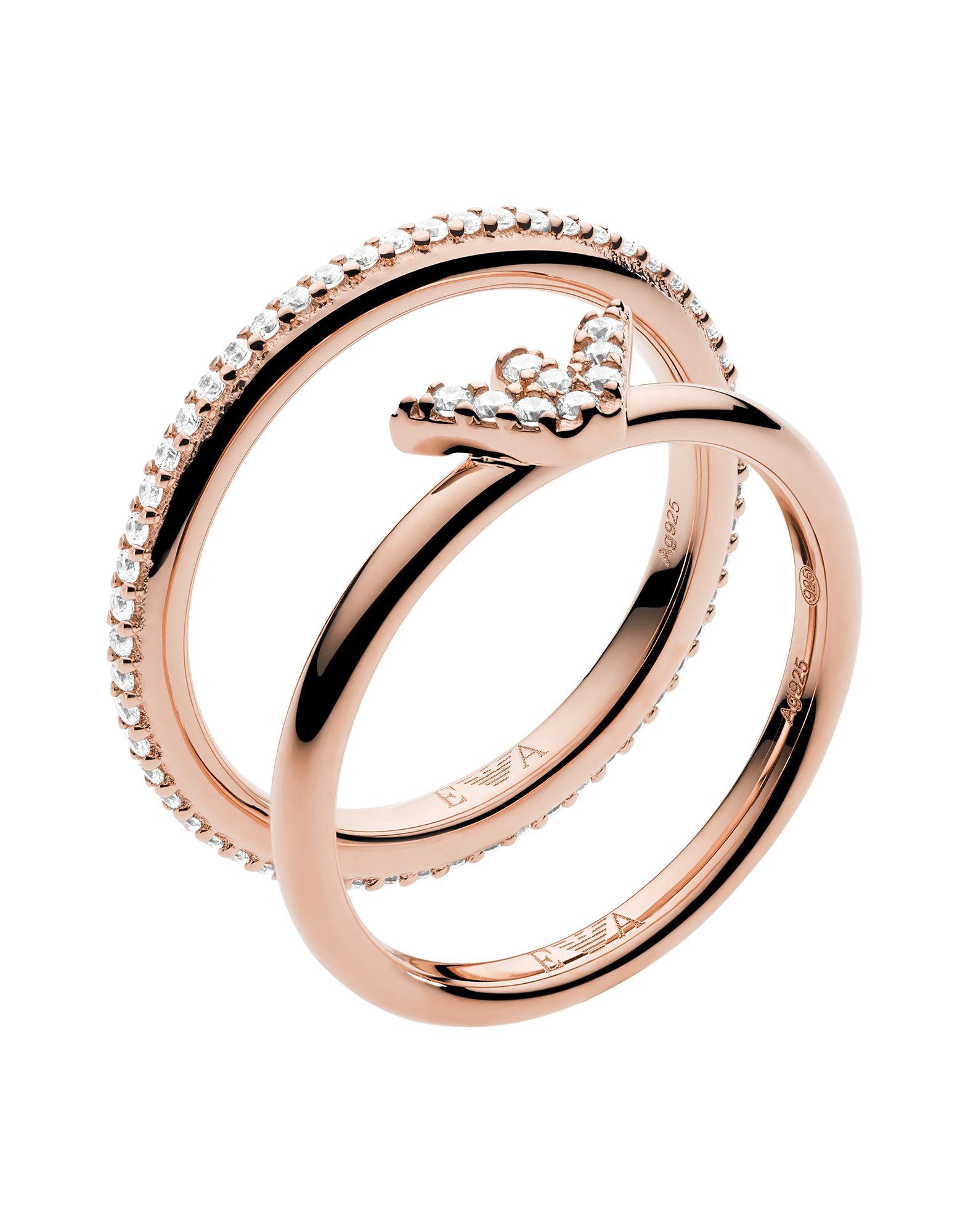 《セール開催中》EMPORIO ARMANI レディース 指輪 カッパー 13 シルバー925/1000 / クリスタル