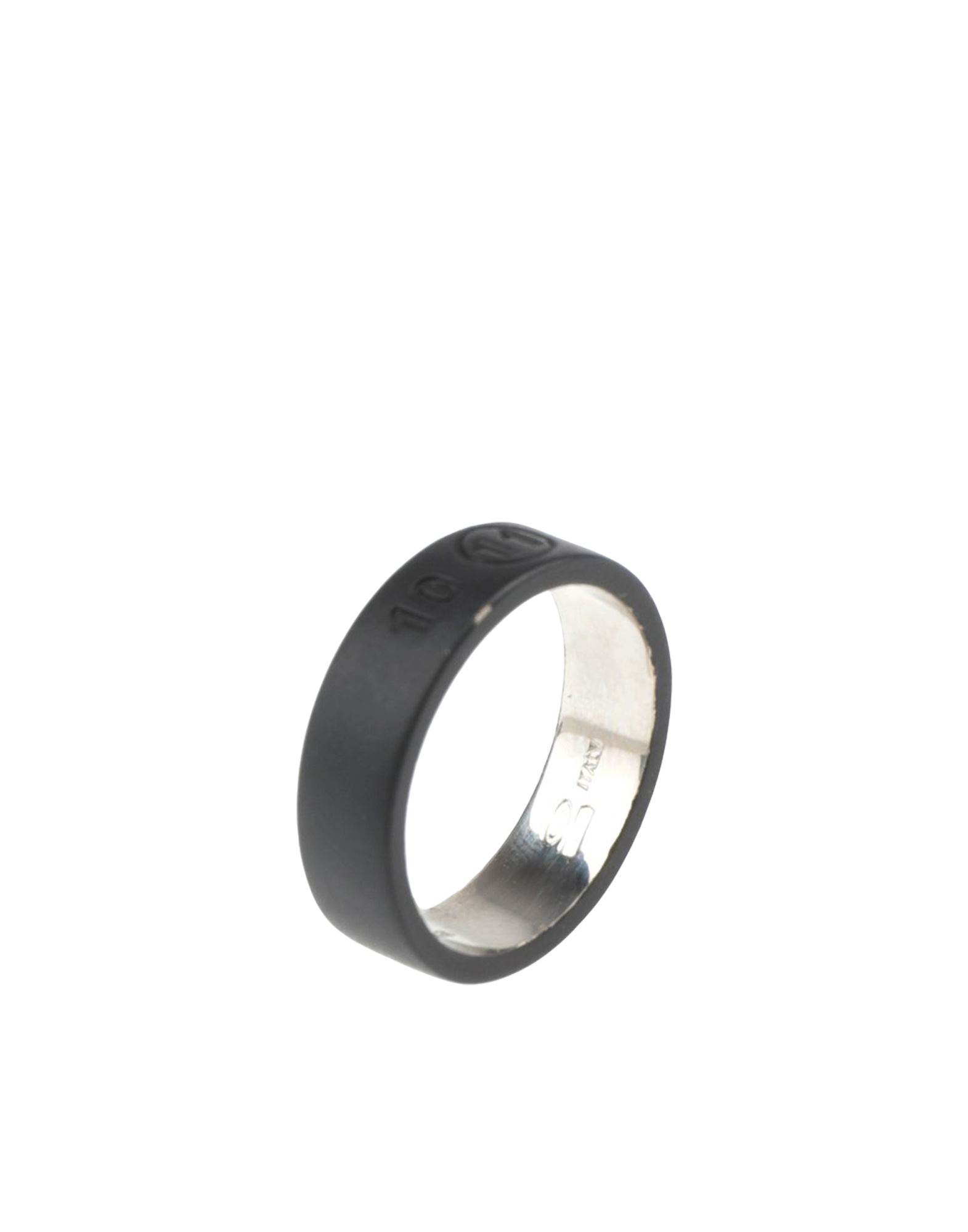 《セール開催中》MAISON MARGIELA メンズ 指輪 ブラック S シルバー925/1000 100%