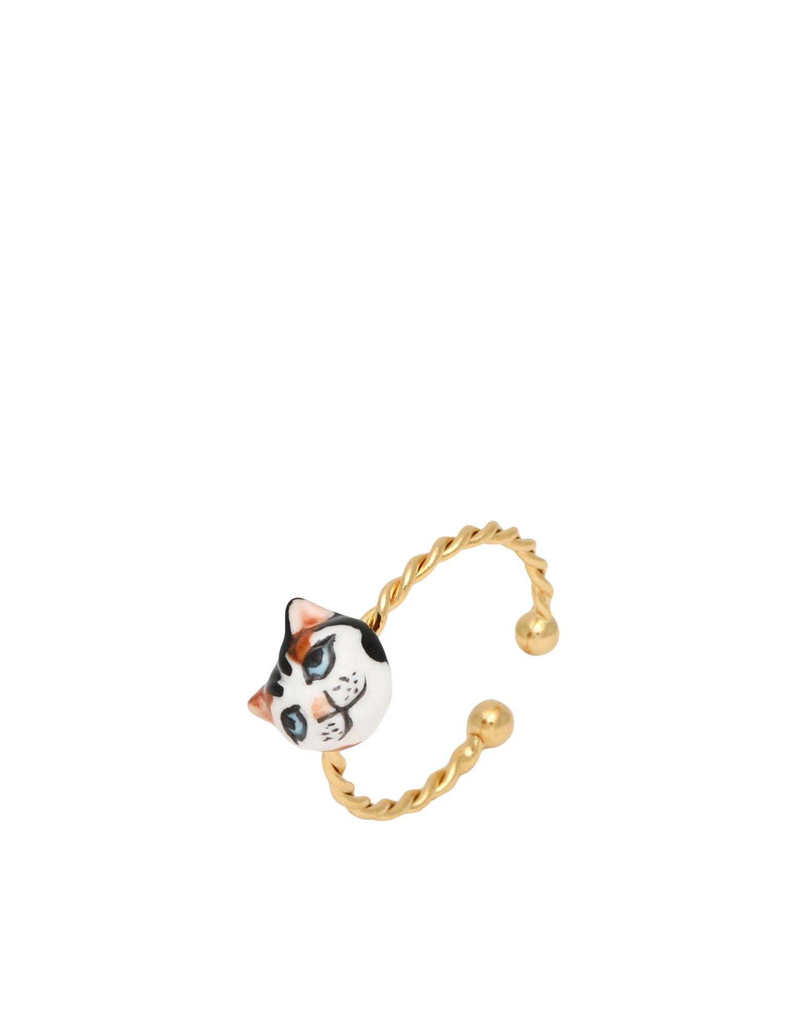 《セール開催中》NACH レディース 指輪 ゴールド OneSize セラミック / 真鍮/ブラス Black, White & Brown Cat ring