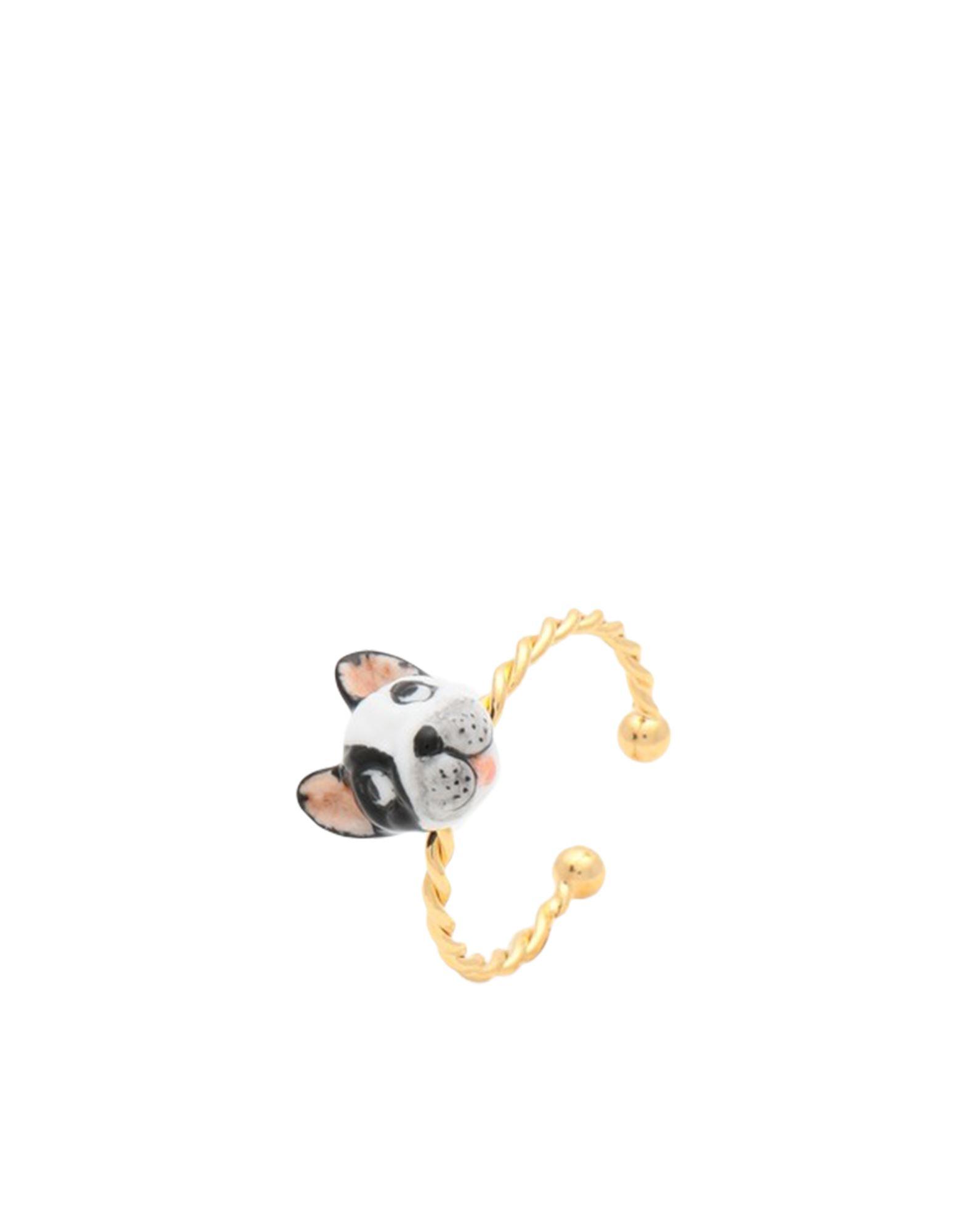 《セール開催中》NACH レディース 指輪 ブラック OneSize セラミック / 真鍮/ブラス B & W FRENCH BULLDOG RING
