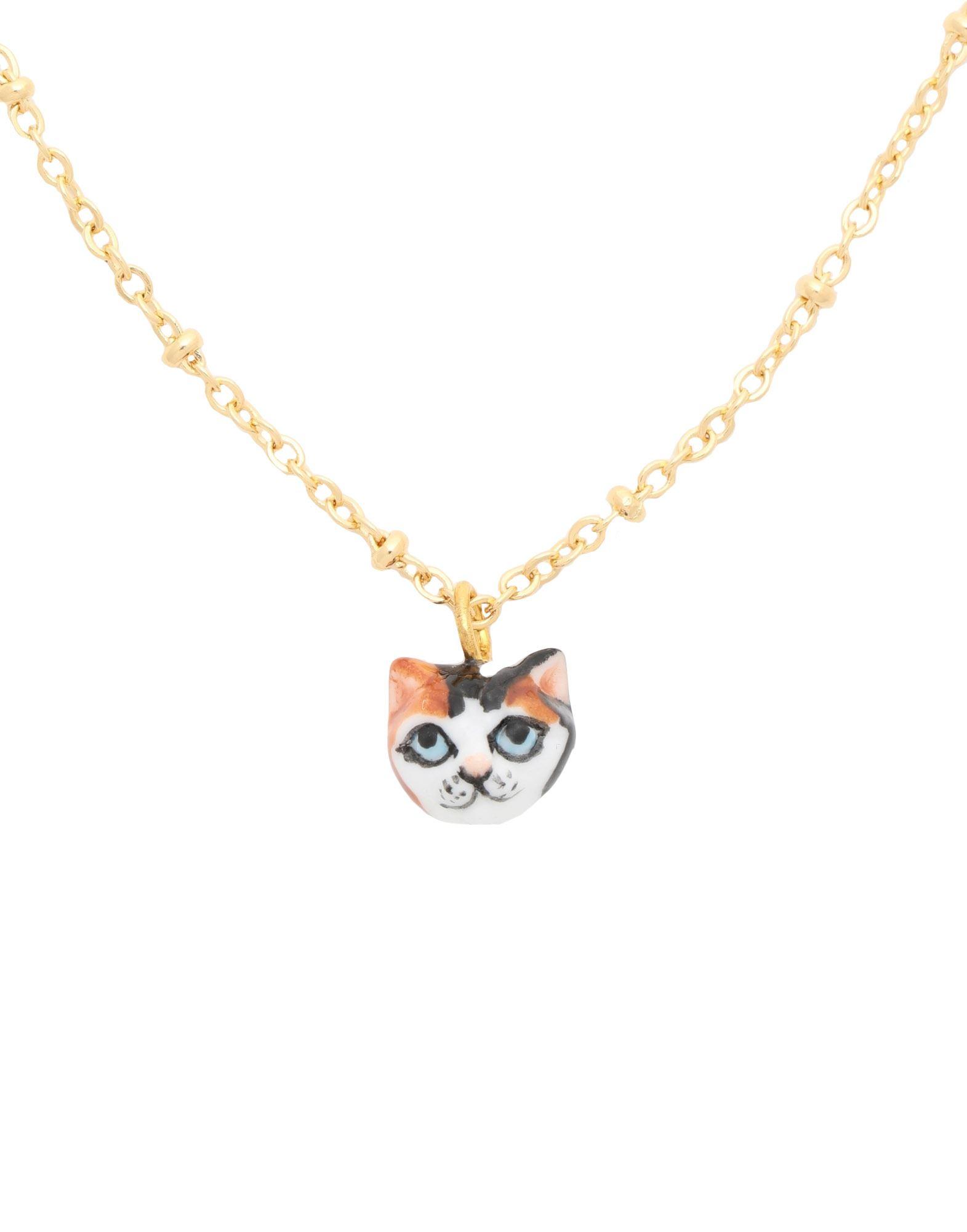 《セール開催中》NACH レディース ネックレス ゴールド セラミック / 真鍮/ブラス Black, White & Brown Cat Head necklace