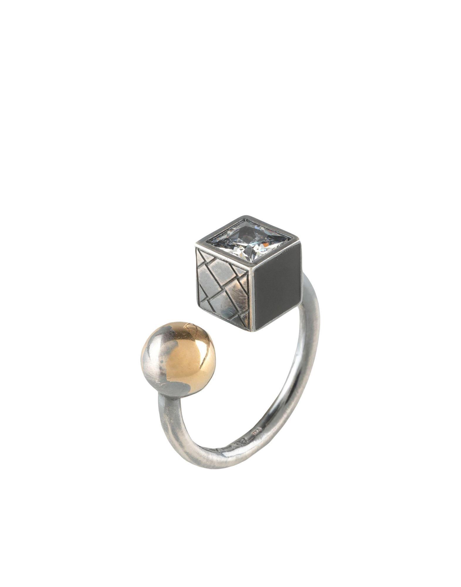 《セール開催中》BOTTEGA VENETA レディース 指輪 ブラック 13 シルバー925/1000