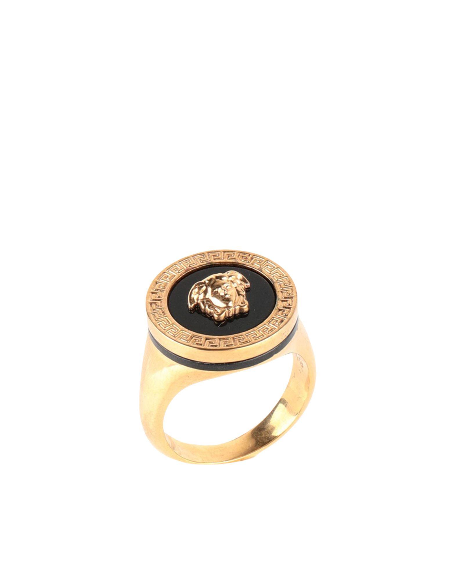 《セール開催中》VERSACE メンズ 指輪 ゴールド 17 金属 / ポリウレタン