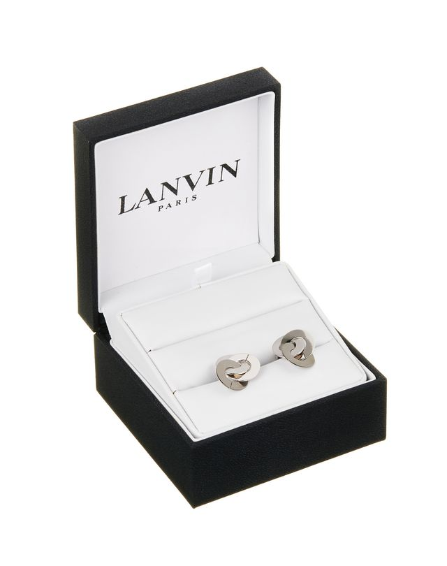 LANVIN CHAIN CUFF LINKS IN RHODIUM METAL Cufflinks U f