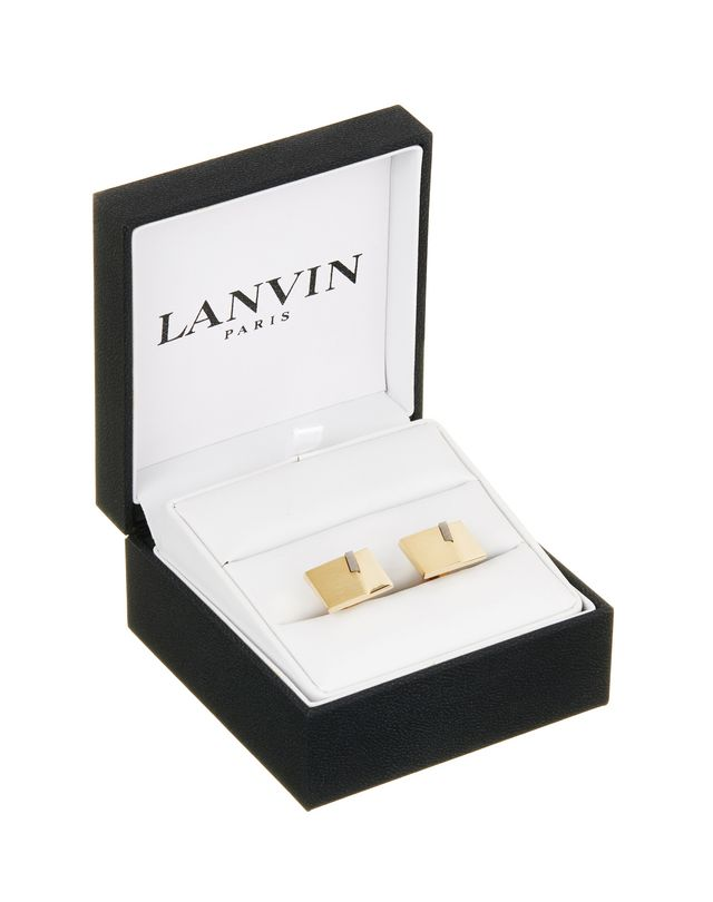 LANVIN RECTANGULAR CUFF LINKS WITH OBSIDIAN Cufflinks U f