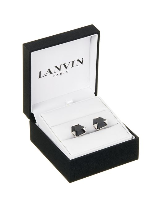 lanvin cuff links with faceted onyx  men