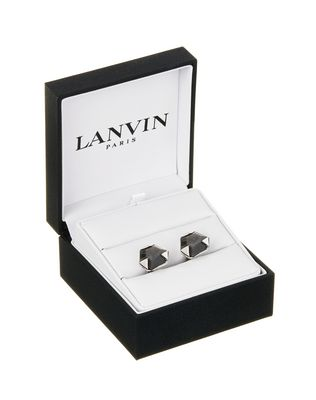 CUFF LINKS WITH FACETED OBSIDIAN