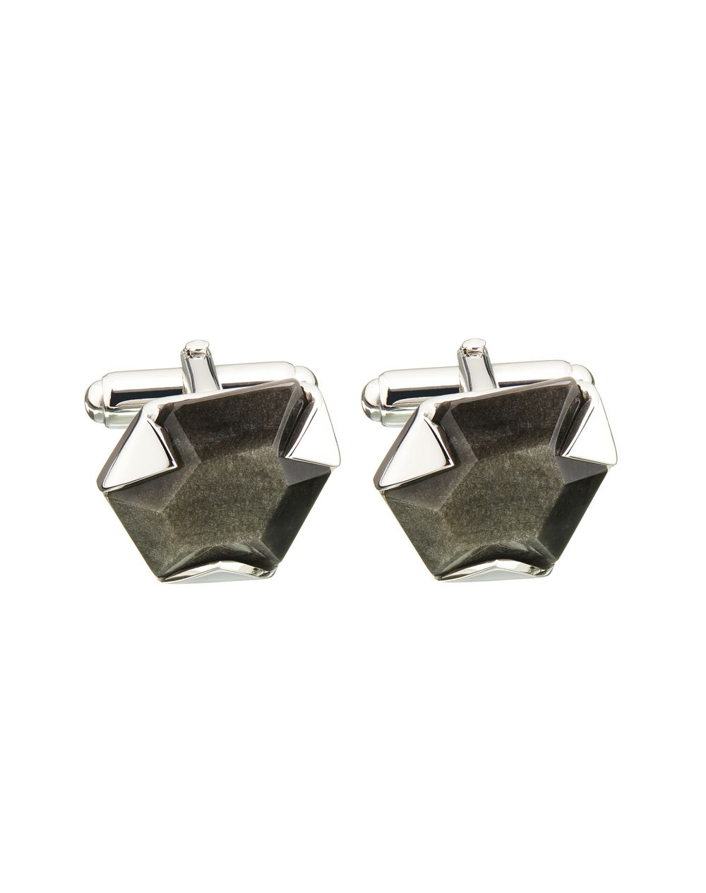 CUFF LINKS WITH FACETED OBSIDIAN  - Lanvin