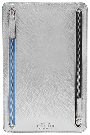 SMYTHSON Panama metallic textured-leather wallet